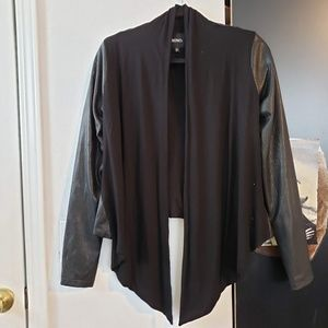 XOXO Faux Leather draped cardigan/ jacket